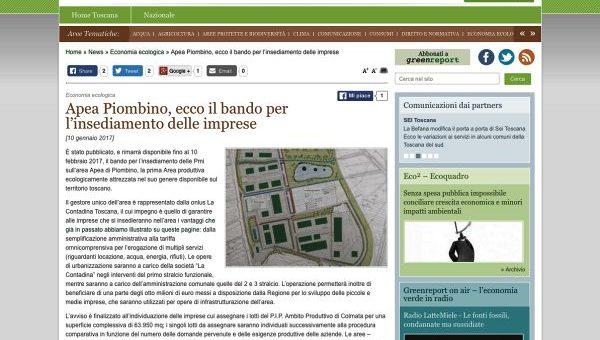 Apea Piombino, ecco il bando per l'insediamento delle imprese – greenreport.it 10 gennaio 2017